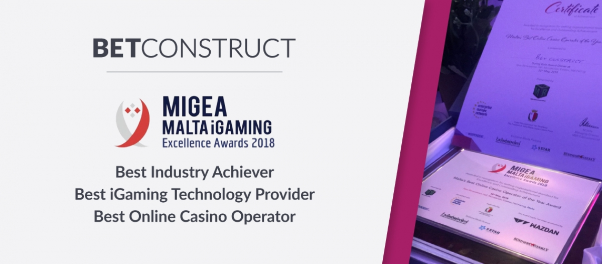 BetConstruct Wins Three Awards at MiGEA 2018