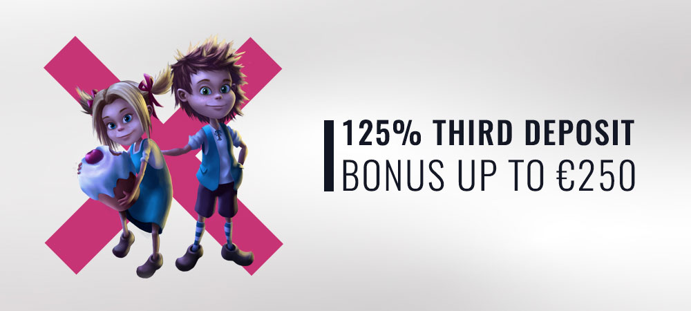 125% Third Deposit Bonus up to €250