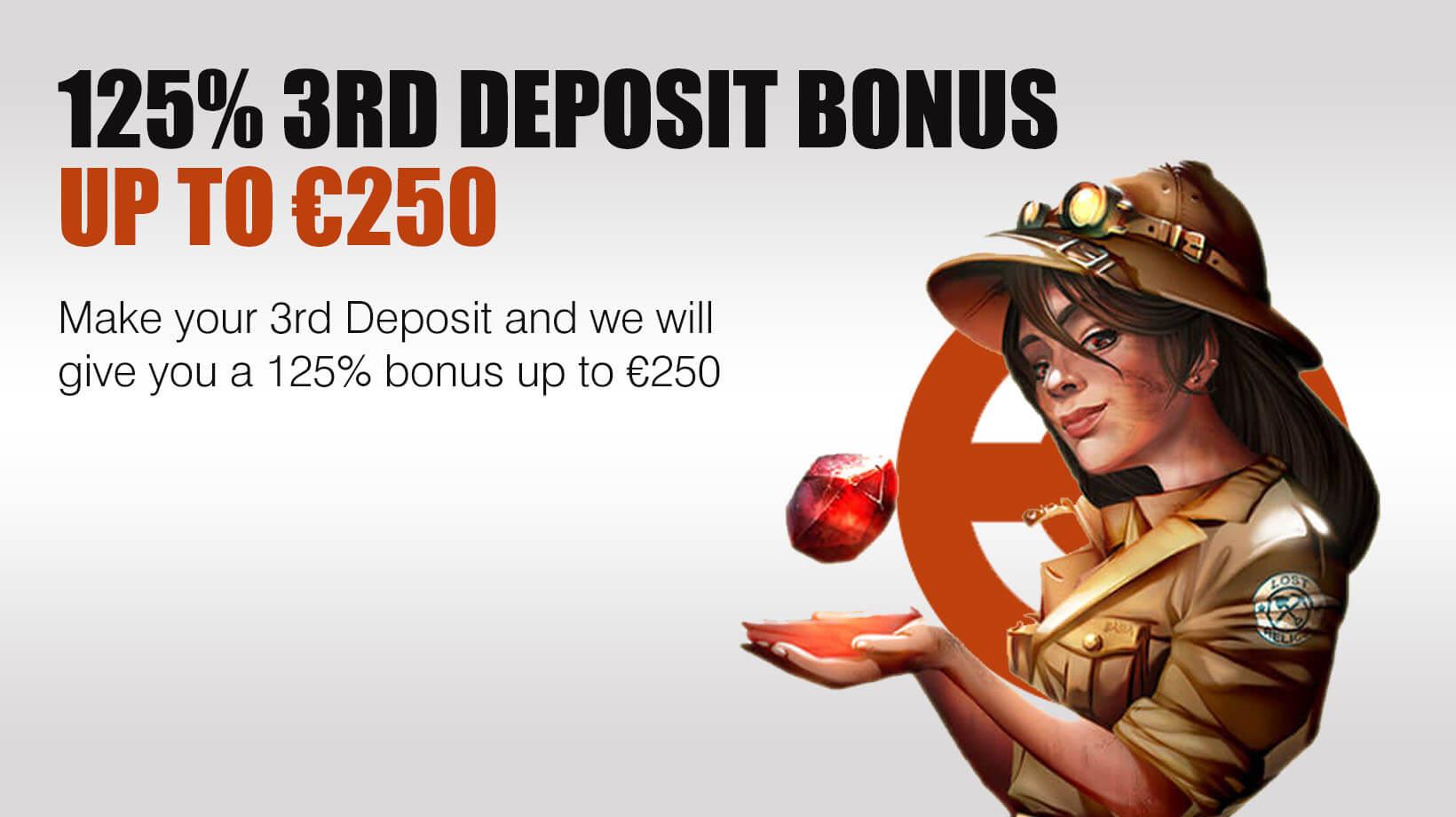 125% 3rd Deposit Bonus