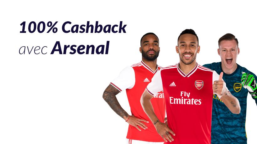 100% Cashback avec Arsenal